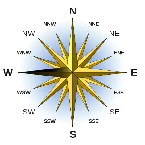 Compass heading west