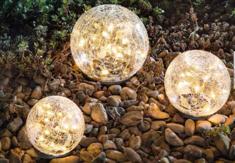 best crackle glass globe solar lights